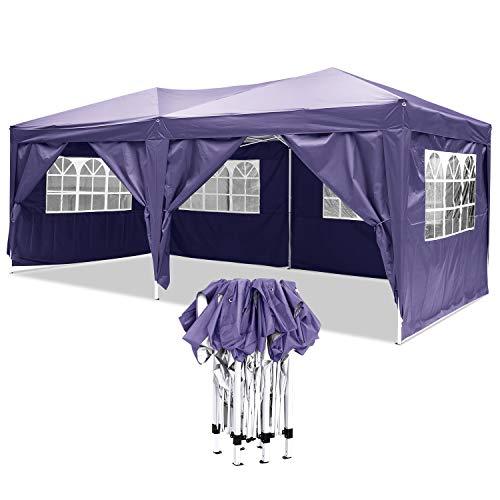 YUEBO Faltpavillon Wasserdicht Gartenpavillon, 3 x 6m Partyzelt Pavillon Festzelt mit 4 Seitenteilen für Garten/Party/Hochzeit/Picknick/Markt- Tragetasche inklusive (violett)