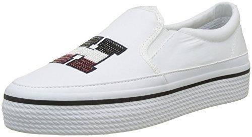 Tommy Hilfiger Damen Tommy Sequins Flatform Sneaker Weiß (White 100)