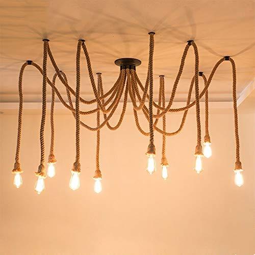 Moliay 10-luces Industrial retro cuerda del cáñamo de la lámpara de techo...