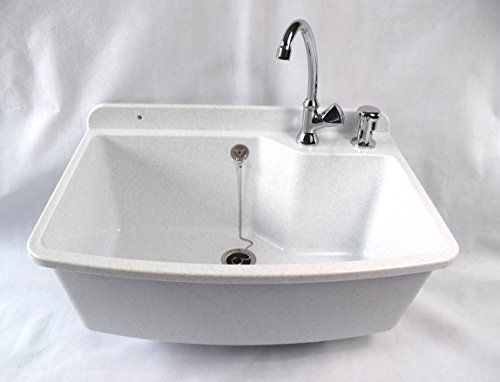 Ausgussbecken MAXIMUS, Farbe: weißer granit, inkl. Seifenspender und Kaltwasser-Armatur