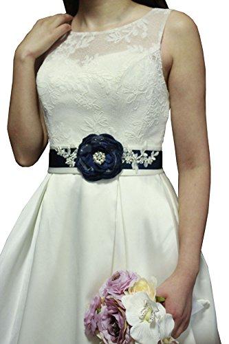 Lemandy elegante realizzato a mano fiori e perle Sash Bridal