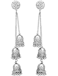 Shreyadzines Designer Afghani Kashmiri Tribal Oxidized Dangle Long Earrings for Women and Girls