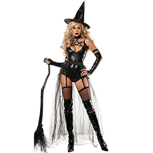 Hexe Kostüm Böse Sexy - GLXQIJ Sexy Böse Damen Hexe Halloween Märchen Kostüm, Mit Kleid, Handschuhen & Hut,Black,XS