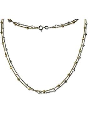 SilberDream Halskette für Damen aus 925er Sterling Silber - Collier bicolor Kette Kugeln vergoldet - 45cm - SDK22245J