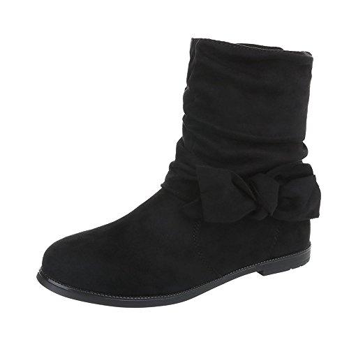 Stiefel & Boots Kinder-Schuhe Klassischer Stiefel Blockabsatz Mädchen Reißverschluss Ital-Design Stiefeletten Schwarz, Gr 31, 9458-1-