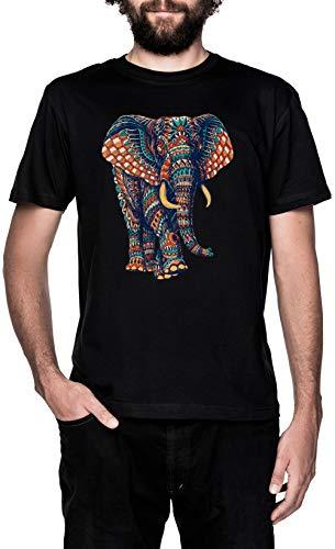Florido Elefante Negro Camiseta Hombre Manga Corta Black T-Shirt Men's