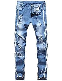 d17b9871adc NPRADLA Homme Pantalons Pants Jeans Mode Nouveau Style Fait Vieux  Personnalité Jeans Casual Printemps éTé Creux