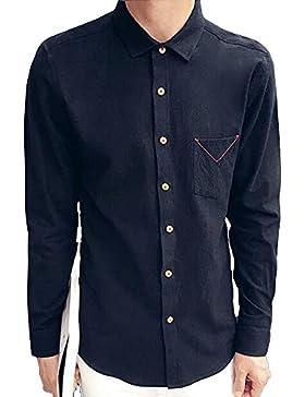 BOZEVON La camisa de manga larga de los hombres para la ocasión ocasional del negocio del partido, algodón 100%...