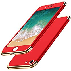 Luckydeer Coque iPhone 7 et Protection d'écran en Verre Trempé, Housse iPhone 7 [ 3 en 1 Series Electro Placage Texture 360 DegrésUltra Resistante ] PC Dur Rigide Coque iPhone 7-4,7'' Rouge