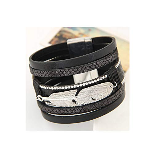 Daawqee Premium Armband, Fashion Alloy Feather Leaves Wide Magnetic Leather Bracelets & Bangles Multilayer Bracelets Jewelry for Women Men Gift Black (White Band K 18 Gold Wedding)