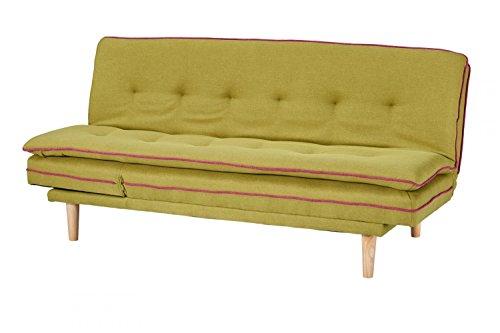 CAGUSTO Schlafsofa Borris grün, Klappsofa mit Schlaffunktion im skandinavischen Design, modernes Bettsofa, verstellbare Schlafcouch mit Holzfüßen