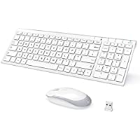iClever Wireless Keyboard and Mouse Combo, 2.4G Portable White Slim Design with Full Size Rechargeable keyboard QWERTY Layout (UK), Stable Connection Adjustable DPI, For PC/Laptop/Surface,Best Gift