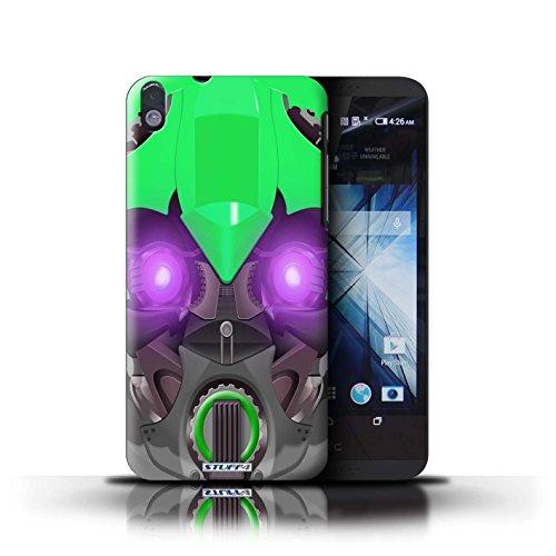 Kobalt® Imprimé Etui / Coque pour HTC Desire 816 / Mega-Bot Jaune conception / Série Robots Bumble-Bot Vert