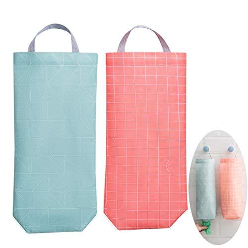 Impermeable Basura Bolsas Dispensador para Cocina, Reutilizable Colgando Plastico Bolsas Poseedor Basura Bolsas Organizador Reciclaje Tienda de comestibles Bolsillo Contenedores(2 Puro Estilo)