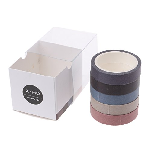 Yaonow Basic Washi tape Solid color DIY mascheratura per Gift Warpping, 5 rotoli one size 2