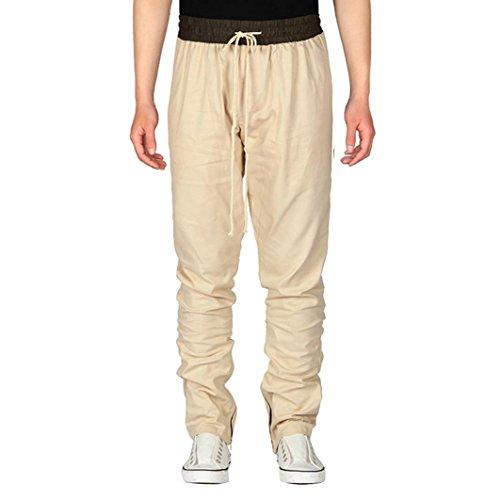 Paolian Pantalon de Sport de Plein air Décontracté pour Hommes de Cordon de personnalité, Fermeture à Glissière à l'intérieur de Pantalons Décontractés de Mode de Conception de Fermeture à Glissière