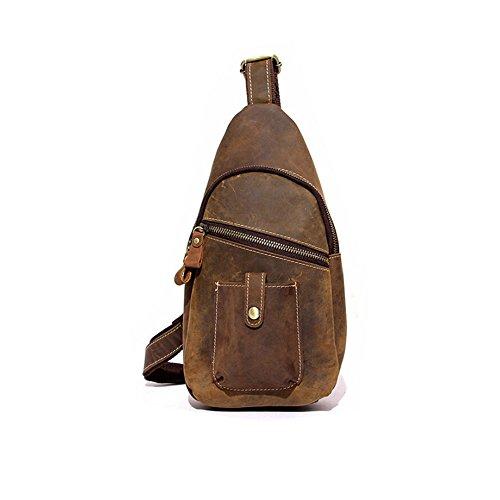 Paonies Herren Büffelleder Schultasche Brusttasche Sporttasche für Arbeit Freizeit Reise