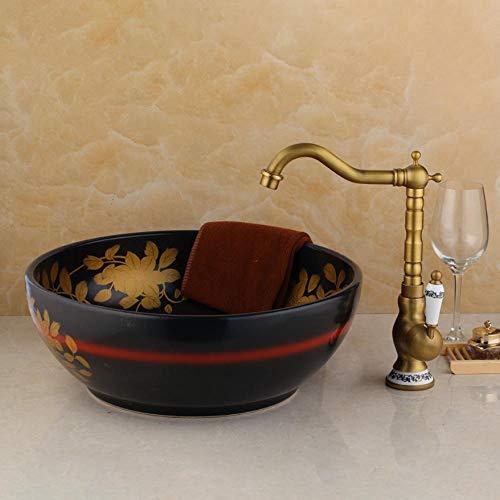 Lavabo in ceramica lavabo artistico moderno lavello da bagno ciotola per lavabo set di rubinetti miscelatore per lavabo da piano