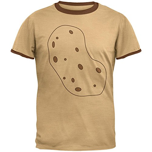 Gemüse, Ich Bin eine Kartoffel Kostüm Herren Ringer T Shirt Hellbraun Braun X-LG (Kartoffel-halloween-kostüm)