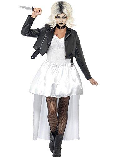 Chuckys Braut Halloween Damenkostüm weiss schwarz M (Chucky Und Chucky's Braut Kostüm)