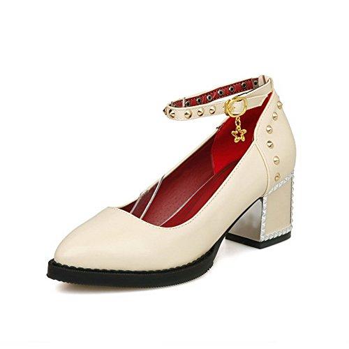 VogueZone009 Damen Pu Leder Eingelegt Schnalle Spitz Zehe Mittler Absatz Pumps Schuhe Cremefarben