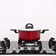 Royalford RF6439 Non-Stick Ceramic Casserole with Glass Lid 22 cm- Durable Non-stick Coating, Construction Wit