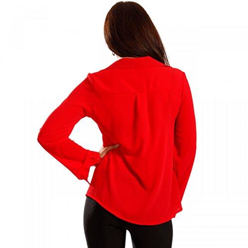 Damen Bluse mit Schnürung Rot