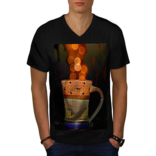 stylish-cup-of-tea-color-bubbles-men-new-black-m-v-neck-t-shirt-wellcoda