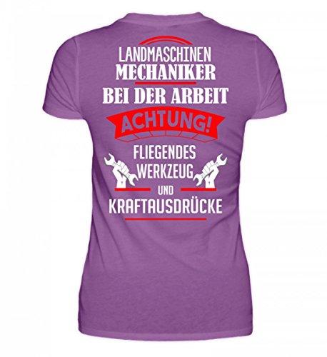 Shirtee Hochwertiges Damen Organic Landmaschinen Geschenkidee für Landwirte/Landmaschinenmechaniker · aufgedrucktes Motiv/Spruch Purple