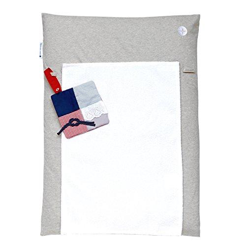 Wickelauflage 50 x 70 | Graue Wickeltischauflage Schmal | Wickelmulde inkl. abnehmbares Frottee Handtuch | Alternative zu Wickelunterlage abwaschbar