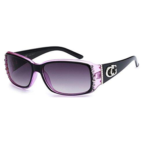 CG Sunglasses Cg Brillen Strass Nieten schmale rechteckige Mode Sonnenbrillen UV-Schutz 1 Mittel 2 Tone - Schwarz & Rosa