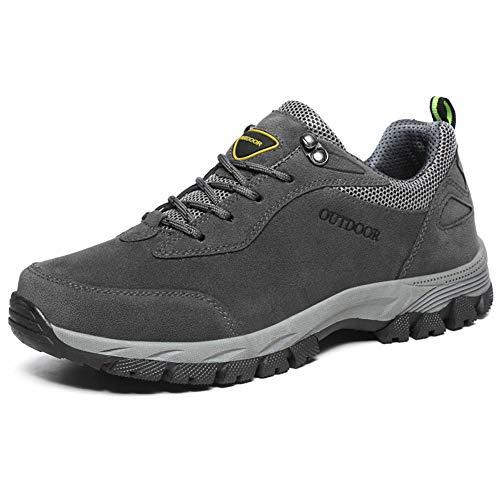 fe04fb7b51e GESIMEI Hombre Impermeable Zapatos de Senderismo Trainers Respirable Ligero  Zapatos de Trekking Zapatos de Deporte Gris