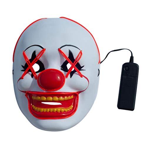 Amosfun Halloween leuchtendes kaltes Licht Clown Maske Karneval Cosplay Party Kostüm Maske Bühne Leistung Requisiten Party Favors