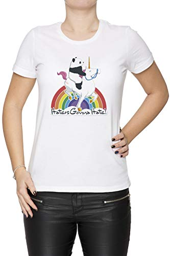 Haters Gonna Hate - Pride Damen T-Shirt Rundhals Weiß Kurzarm Größe S Women's White T-Shirt Small Size S