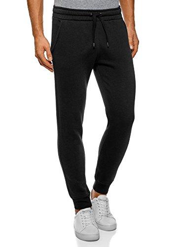 Oodji Ultra Hombre Pantalones Punto Cordones, Negro