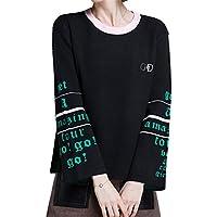 ALUK- Suéter de otoño e invierno ocio párrafo corto de manga larga camisa de punto ( Color : Negro , Tamaño : Metro )