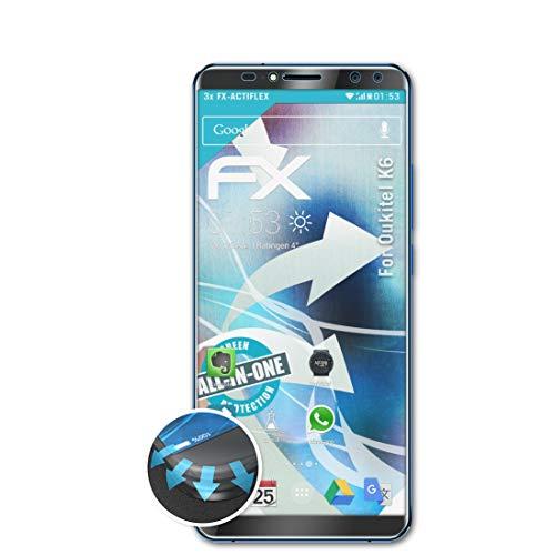 atFolix Schutzfolie passend für Oukitel K6 Folie, ultraklare & Flexible FX Bildschirmschutzfolie (3X)