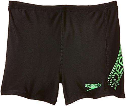 Speedo Jungen Badehose Sports Logo Panel Aquashorts, Black/Green, 128, 8-09530A501