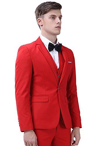 INFLATION Klassisch Slim Fit Schnitt Herren 3-Teilig Anzüge Anzugsuit Men's Suit Reine Farbe Casual Sakko Anzüge Smokings Anzugjacke+Weste+Anzughose 10 Farben verfügbar, XL-6XL Rot