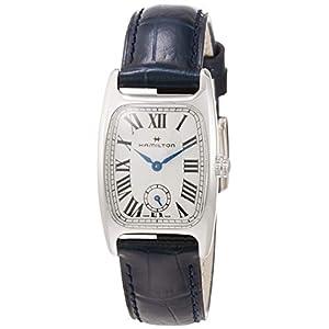 Hamilton H13321611 Boulton M – Reloj de Pulsera para Mujer, Esfera Plateada y Blanca, Piel Azul