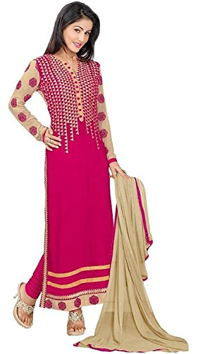 Shree Womens\'s And Girl\'s New Georgette Fabric Anarkali Dress Material(se2 5025_Free Size)(Red_Color)