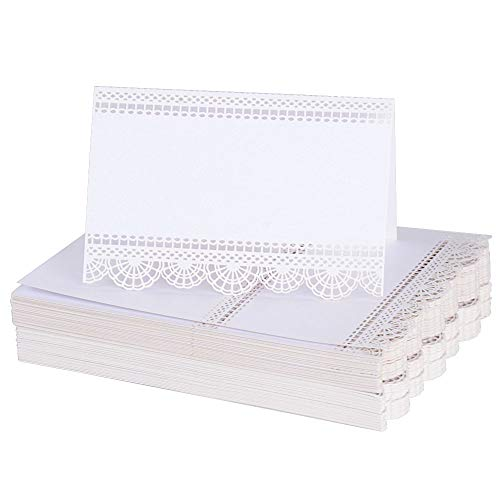 BUONDAC (9 * 6cm) 100 STK Tischkarten Platzkarten Namenskarten für Geburtstag Hochzeit Taufe Party Weihnachten Namensschild Namenskärtchen Tischkärtchen Sitzkarte (Weiß)