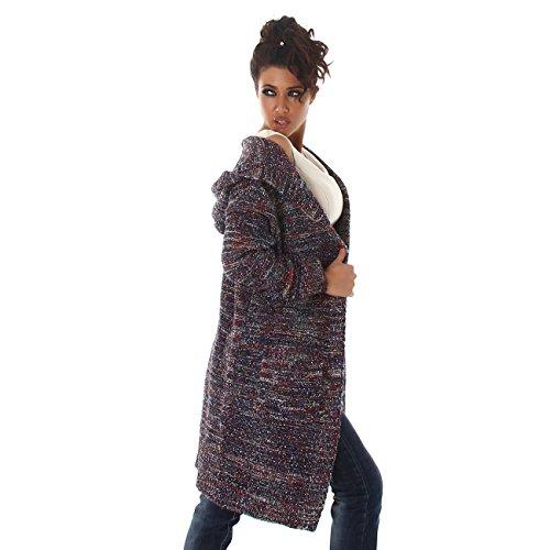 Voyelles Lange Damen Strickjacke   Strickmantel mit Glitzer   Langarm Cardigan mit Taschen und Kapuze   34 36 38 Pink