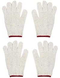 Off Blanc Rouge stretch manchette coton fil Gants de travail 2paires pour Workman