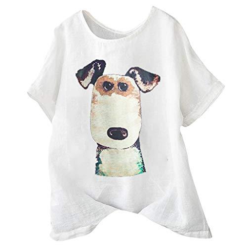 Hund Long Sleeve Tee (Andouy Damen Mode Lustige Muster Tees Beiläufige Feste Gedruckte Lose Flügelhülsen Gr.40-54 Übergroße T-Shirt Tops(3XL(50).Weiß-Hund))