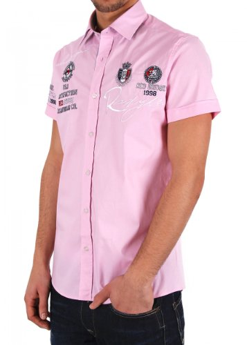RBC Redbridge Herren Freizeit Kurzarmhemd Pink