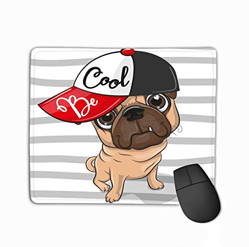 Mouse Pad Cute Pug Dog red Cap Cartoon Striped Background Positive Rectangle Rubber Mousepad 11.81 X 9.84 Inch -