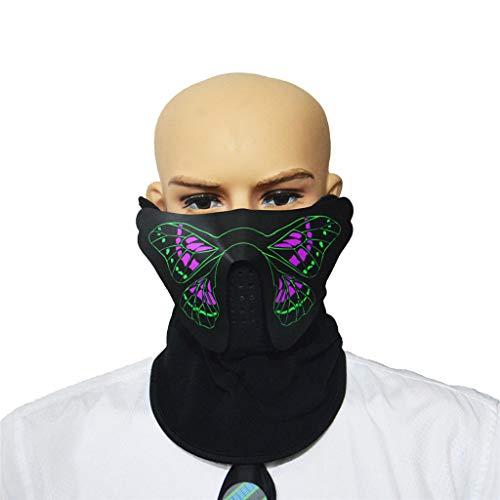 TIREOW_Halloween Party Sprachaktivierte Musik Maske, LED Masken Kleidung Big Terror Kaltlicht Masken für Cosplay Kostüm Männer Junge