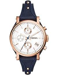 fe6403a1f707 Fossil pulsera de reloj es-3838 piel azul 18 mm (solo el correa de