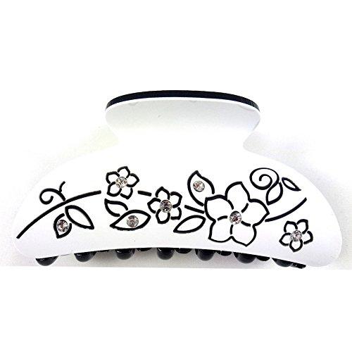 rougecaramel - Accessoires cheveux - Pince cheveux motif fleur et incrustée de cristaux - blanc